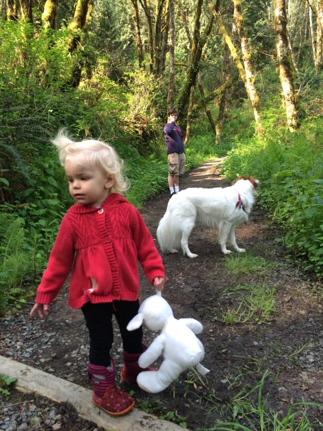 Toddler hike Milo McIver State Park Oregon lovey