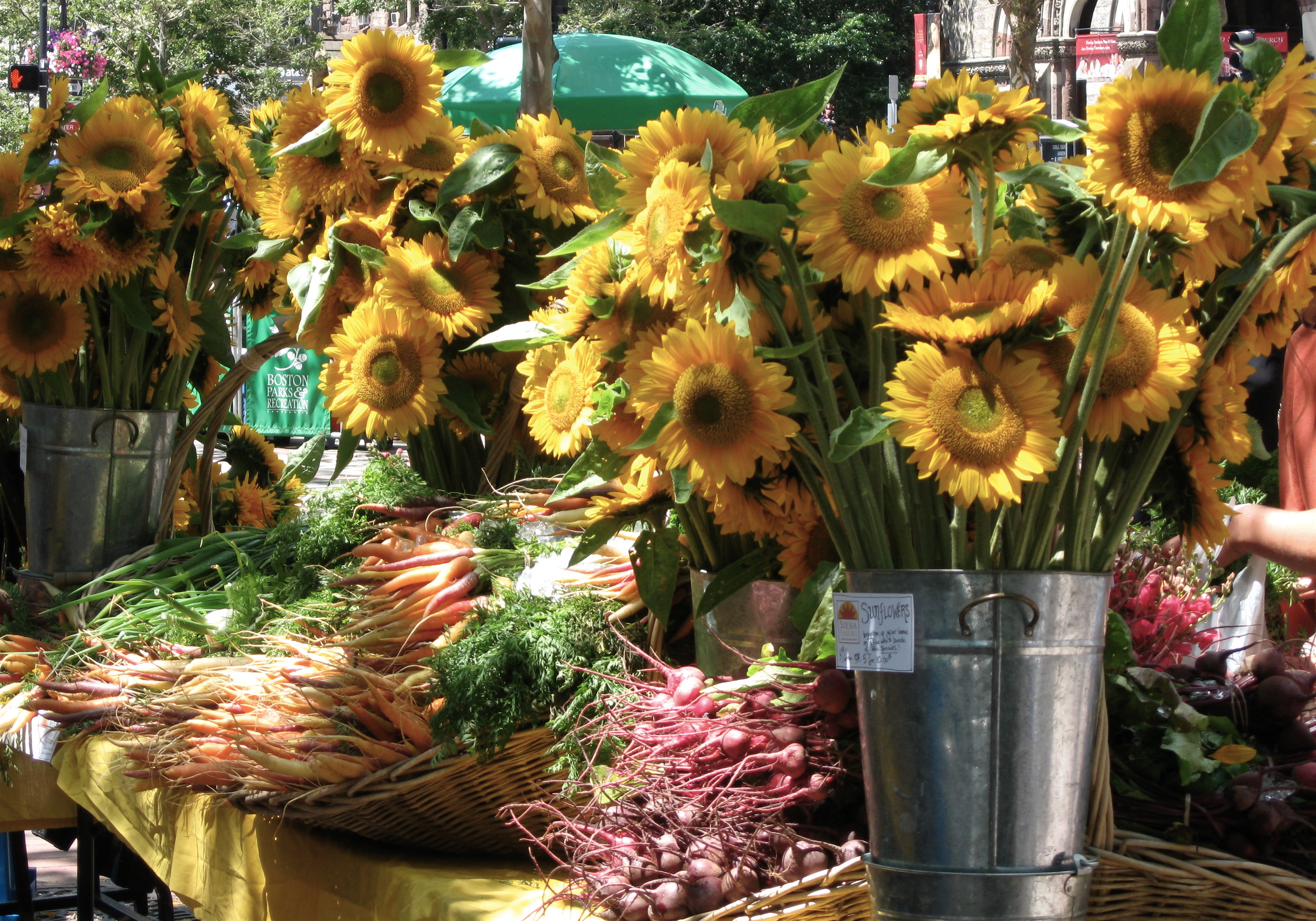 Sunflowers and produce
