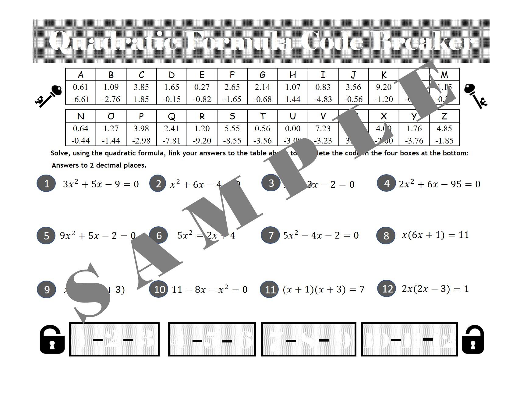 Quadratic Formula Code Breaker Activity