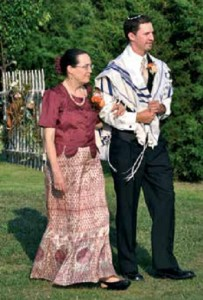 Escorting son Rami to the wedding chuppah