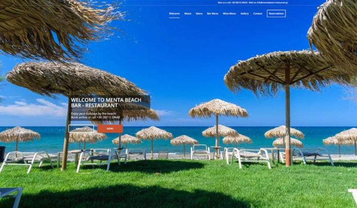 Web Design | Menta Beach Bar - Restaurant