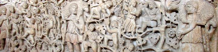Detail of Christian sarcophagus in ivory, scene of the Good Shepherd, Vatican Museum, Rome