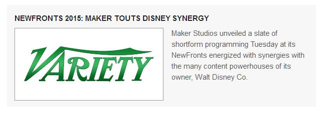 newsfronts, variety, maker, disney, maker studios