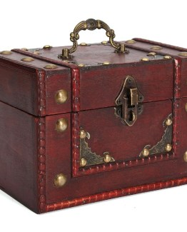 Caja almacenamiento vintage madera retro joyas joyeria cerradura 262x325 - Caja de Madera Roja Retro Vintage para almacenamiento y joyeria