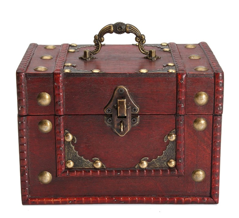 Caja de Madera Roja Retro Vintage para almacenamiento y joyeria