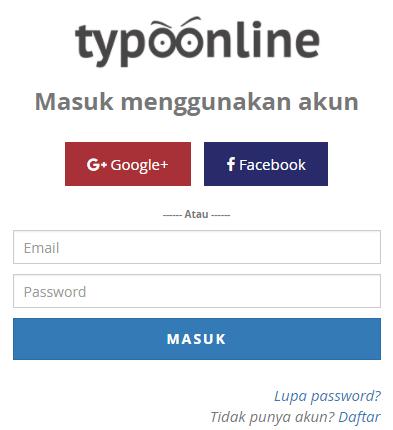 Daftar akun Typoonline