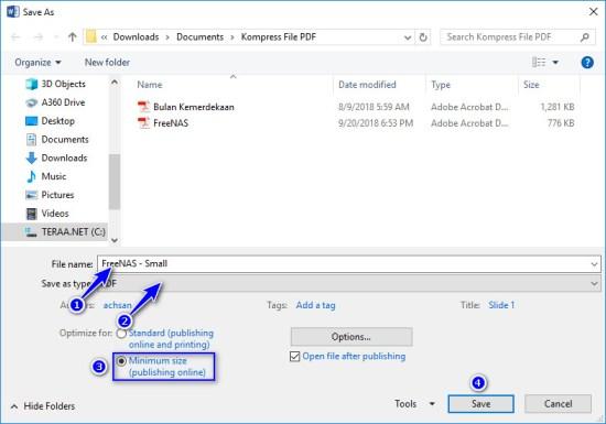 Simpan file PDF ukuran kecil