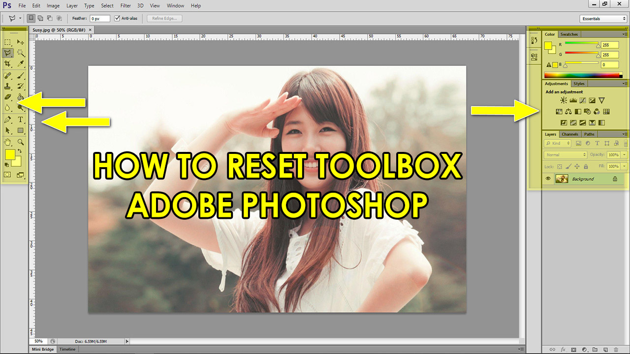 How to reset ToolBox Adobe Photoshop