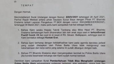 Alasan Istri dan Anak Terkonfirmasi Positif Covid-19, PT BEK Batalkan Menghadiri Mediasi Dengan Surya Baya