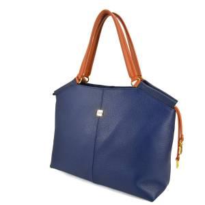 bolso azul cuero