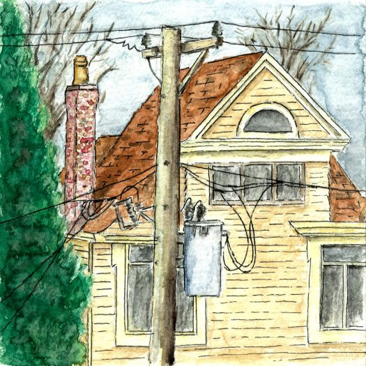 Watercolor sketch of house