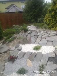 ogród skalny z drobnymi kamieniami