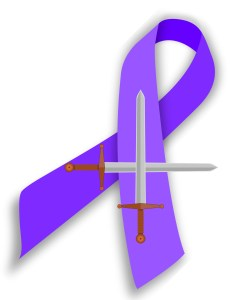 Purple leiomyosarcoma cancer ribbon with 2 crossed swords on top.