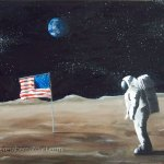 space art painting Neil Armstrong astronaut