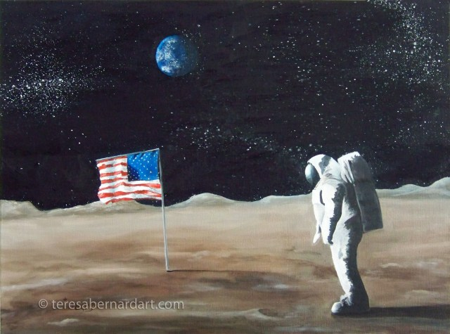 Astronaut Neil Armstrong painting