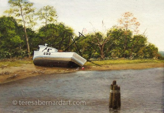 waterscape river side painting