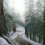 snow forest landscape painting