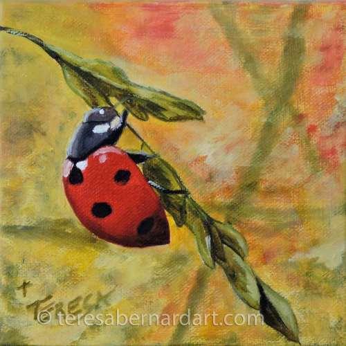 ladybug oil painting