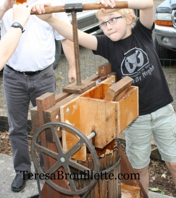 Learning about apple pressing