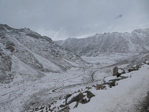 The view down the valley from Chang La Pass after snow