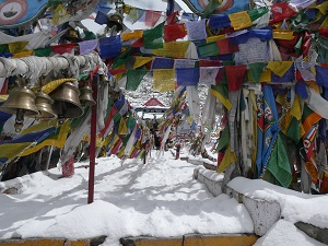 Snowy path with lots of prayer flags