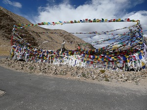 Prayer flags on Namshang La Pass on way to Tsomoriri Lake, Ladakh, India