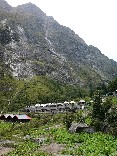 The tent camp near Gangaria - home for the Valley of Flowers and Hemkund treks, Himalayan India