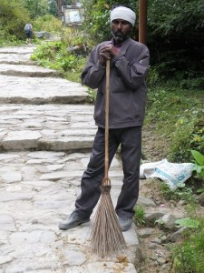 Track sweeper on the way to Gangaria base camp, Valley of Flowers, Himalayan India