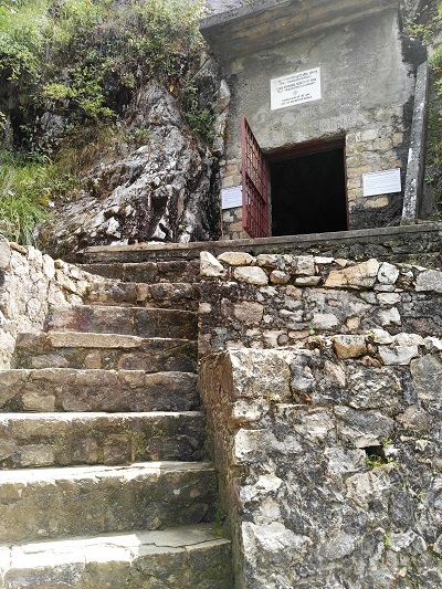 The welcome steps to Babaji's cave in the Kumoan Hills of Northern India