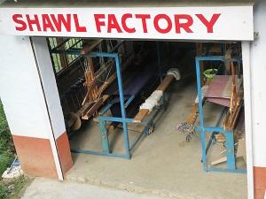 Where the shawls are hand made on the looms - beneath the shop, Kuasani, Himalayan India