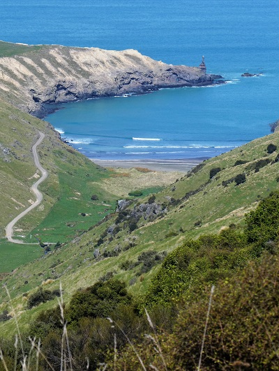 The bay the road the Boaz rock stack, Banks Peninsula, Canterbury, NZ