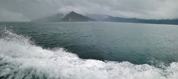 The wider regions of Pelorus Sound from the 'Mail Boat' on a wet day