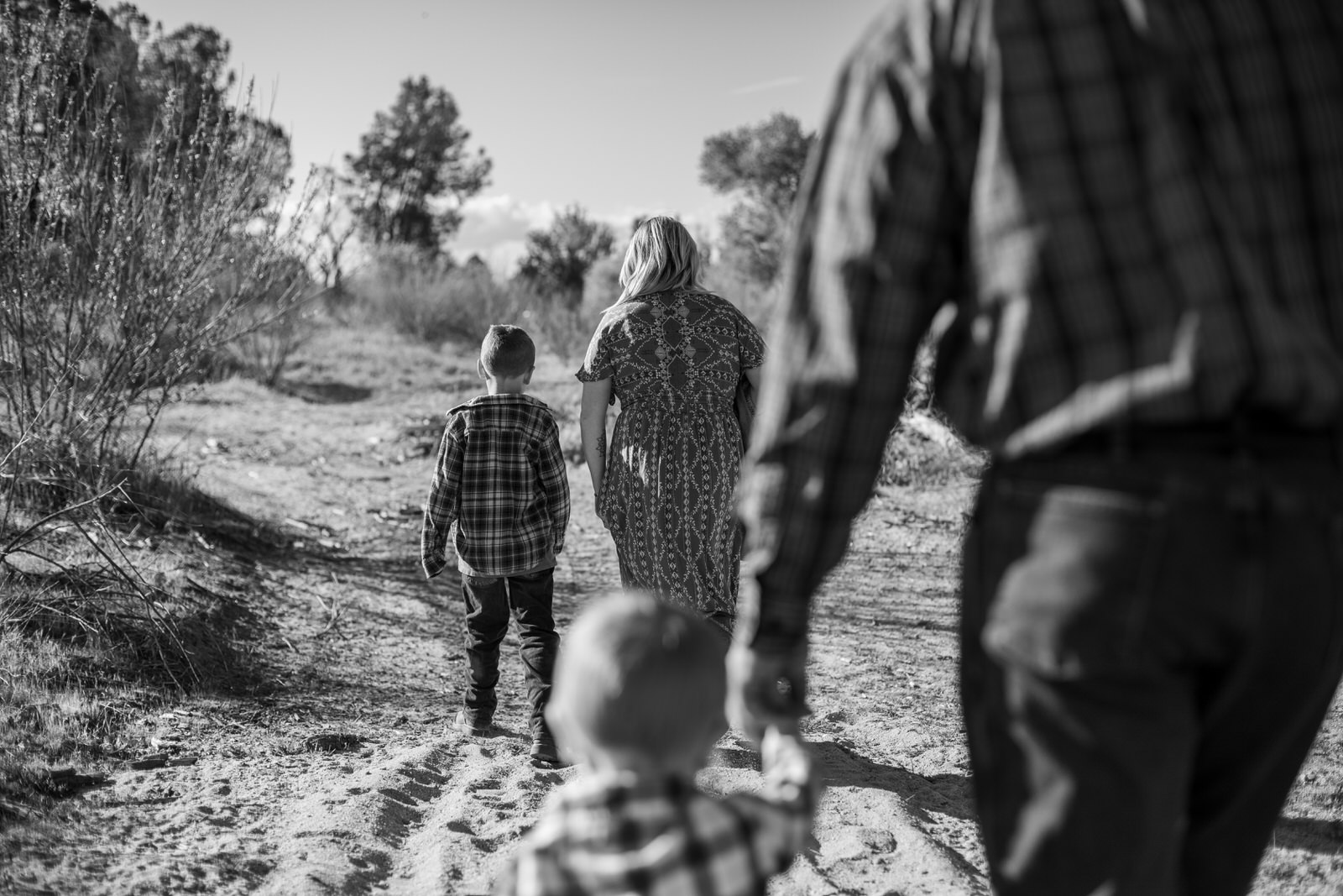 Family of four walking during sunset in the Salinas River by California Photographer Teresa LoJacono