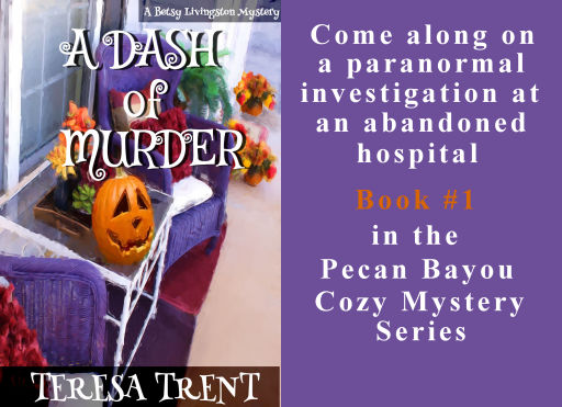 A Dash of Murder #1 in Pecan Bayou Mystery Series available in paperback, ebook and audiobook