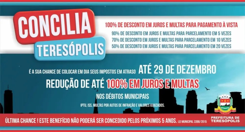 """""""Concilia Teresópolis"""" – Prefeitura faz plantão neste sábado, 26, para atender contribuintes"""