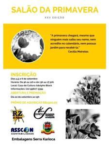 25ª edição do Salão Nacional da Primavera da SOARTE: abertura será no dia 22 de setembro, na Casa de Cultura