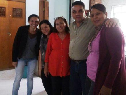 Equipe do CRAS Fischer com a coordenadora Mariza Ferreira, o pastor Waldecir Soares de Souza, da Igreja Novo Israel, e Tereza Alvarez, coordenadora da Proteção Básica da Secretaria de Desenvolvimento Social