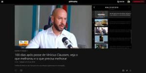 100 DIAS DA GESTÃO VINICIUS CLAUSSEN É DESTAQUE NA INTERTV