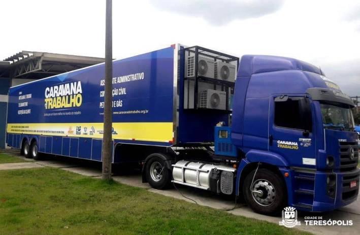 A carreta da Caravana do Trabalho estará em Teresópolis nesta sexta, na Praça Olímpica