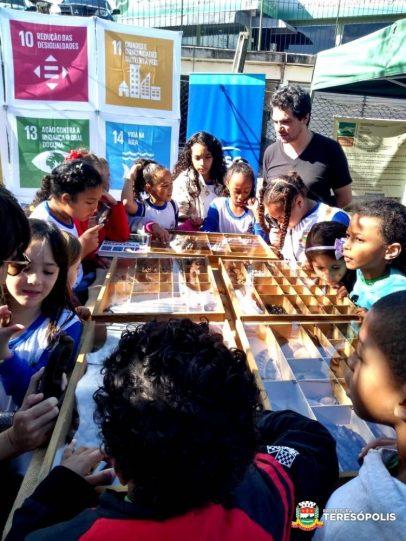 Estudantes em visita à Feira Agroecológica