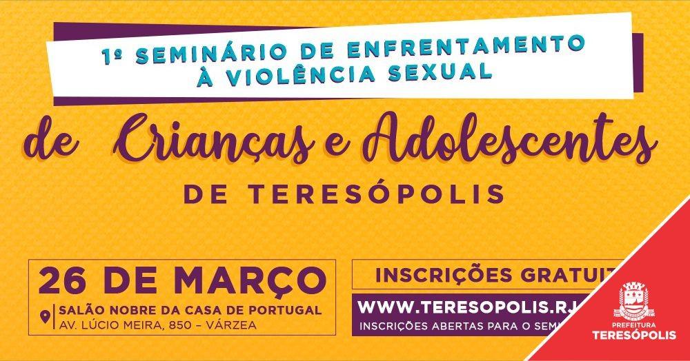 Abertas as inscrições para Seminário de Enfrentamento à Violência Sexual de Crianças e Adolescentes