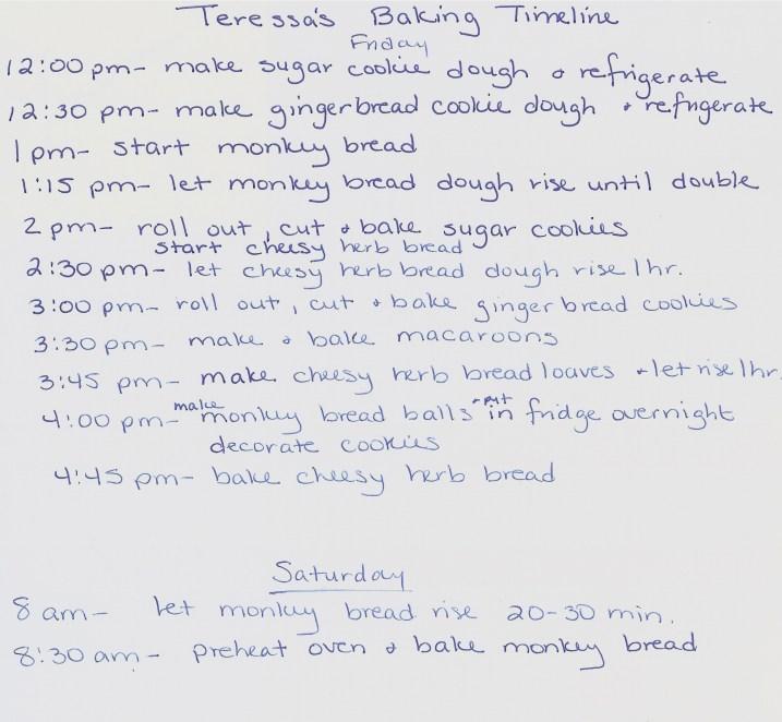 Teressa's Baking Timeline