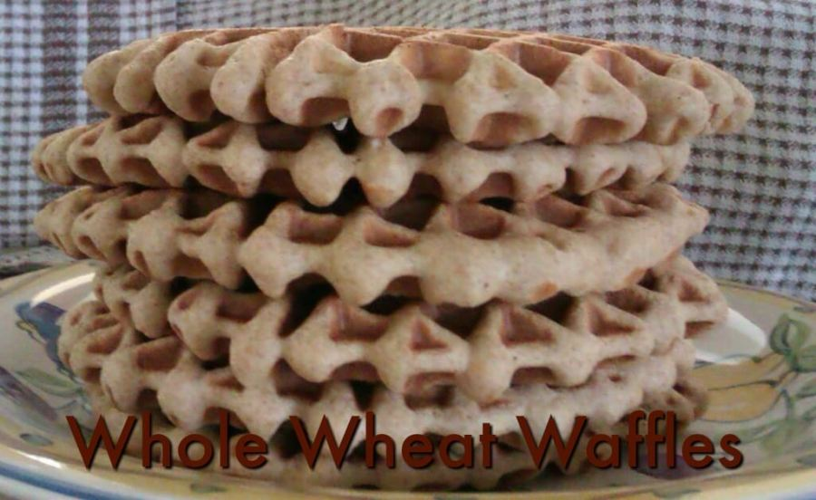 A stack of whole wheat waffles