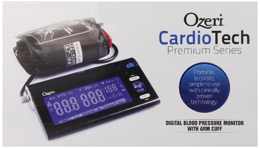 ozeri cardiotech premium series digital blood pressure monitor with arm cuff. Portable, accurate, simple to use with clinically proven technology