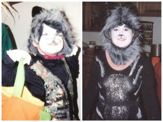 the author's son wearing a Mr. Mistofelees homemade costume and the author wearing a homemade Cats costume