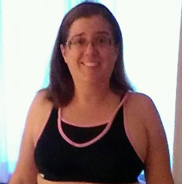 photo of the author wearing a sports bra-top