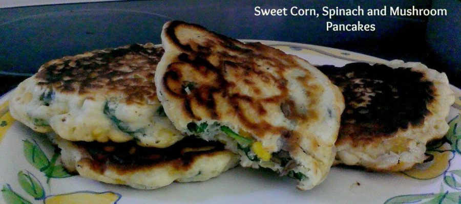 sweet corn spinach and mushroom pancakes