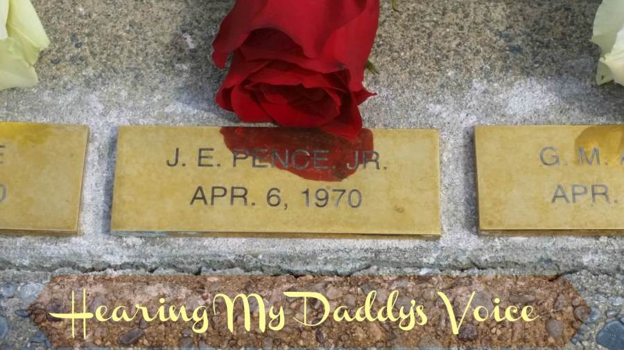 "photo of a brass plaque with a red rose above it. The plaque reads ""J.E. Pence, Jr. Apr. 6, 1970"" The title is ""Hearing My Daddy's Voice."""