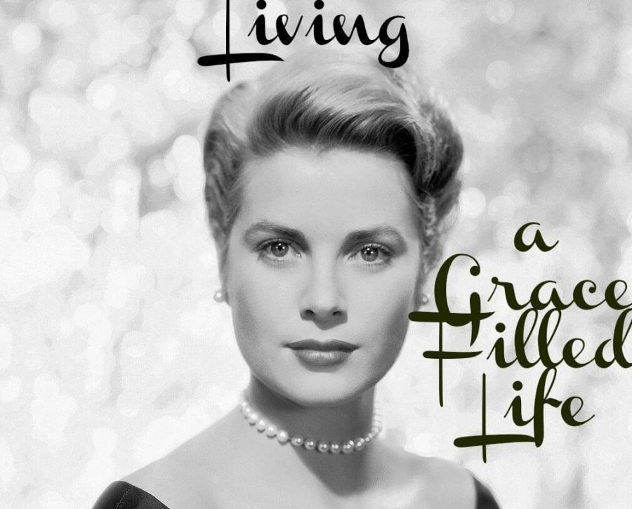 "photo of Grace Kelly with the title ""Living a Grace-Filled Life"""