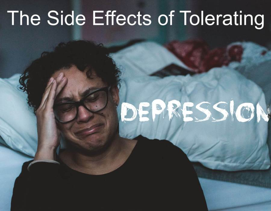 "woman crying with the title ""The Side Effects of Tolerating Depression"""